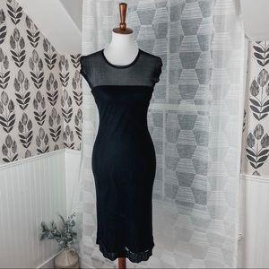 Laundry by Shelli Segal Layered Black Midi Dress